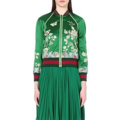 GUCCI Embroidered Duchesse silk-satin bomber jacket ($3,060) ❤ liked on  Polyvore featuring