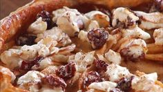 Giada De Laurentiis - Apple Galette with Goat Cheese, Sour Cherry, and Almond Topping-sans almonds for my household! Giada Recipes, Entree Recipes, Apple Recipes, New Recipes, Holiday Recipes, Favorite Recipes, Breakfast Dessert, Paleo Dessert