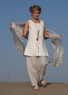 White linen tunic 'Arcade', ice blue linen sarouel/skirt -:- AMALTHEE CREATIONS -:-