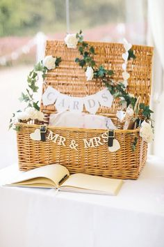 Spring country wedding!  Wicker basket for cards.
