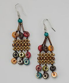 Take a look at this Bronze & Red Bead Chandelier Earrings by Treska on #zulily today!