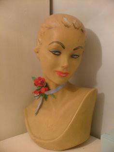 A charming mid-century vintage hat display bust/mannequin head. #vintage #hats #display