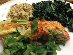 A somewhat exotic baked salmon. Easy to make and a perfect balance of tangy, thai flavours.