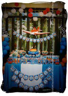 Disney Planes Birthday Party Ideas: I like the orange and white pompoms Disney Planes Party, Disney Planes Birthday, 4th Birthday Parties, Birthday Fun, Birthday Ideas, Third Birthday, Airplane Party, Party Ideas, Party Party