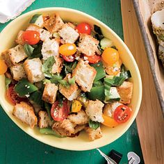 Summer Bread Salad | Cooking Light #myplate #wholegrains #fruit #veggies