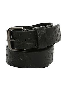 Black Faux Leather Embossed Skull Belt, BLACK