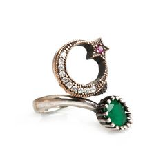 The Zerbap Mehveş Ring with Zircon Emerald Ruby by Rosestyle, $21.50