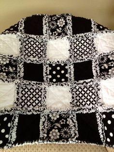 Black and White Baby Rag Quilt Custom Made by ZeedleBeez on Etsy