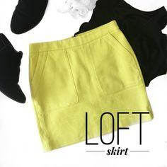 // L O F T • L i m e • S k i r t • Sz 0 // LOFT lime green skirt Sz 0 LOFT Skirts Mini