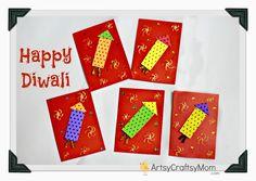 Happy Diwali Foam Cards #Diwali KidsCraft HandmadeCard