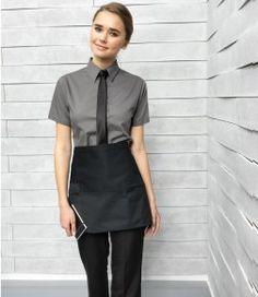 PR105 - Premier Zip Pocket Waist Apron Cafe Uniform, Waiter Uniform, Waitress Outfit, Food Business Ideas, Tea Lounge, Restaurant Uniforms, Staff Uniforms, Waist Apron, Chinese Style
