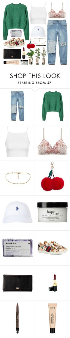 """Tsuki cherries"" by sophiehackett ❤ liked on Polyvore featuring Forever 21, Topshop, Lilipiache, New Look, Polo Ralph Lauren, philosophy, Korres, Gucci, Dolce&Gabbana and Chanel"