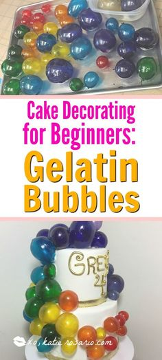 Rainbow bubble cake for home bakers. Get the professional tips here. Learn how to make gelatin bubbles for your next whimsical cake. Add them to cupcakes to create snow globe cupcakes. It is so easy to make crystal clear bubbles that are perfect on cakes. Cake Decorating For Beginners, Cake Decorating Designs, Creative Cake Decorating, Cake Decorating Classes, Cake Decorating Techniques, Creative Cakes, Cookie Decorating, Decorating Tips For Cakes, Cake Designs