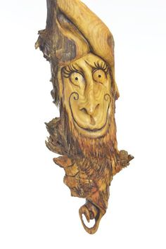 Twisted Wood Carving, Unique Hand Carved Wood Sculpture, Handmade Woodworking Gift by Josh Carte, Wall Art Decor, Wood Spirit Wood Carving