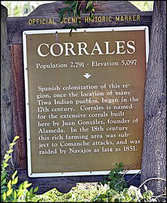 Corrales Nm Historical Marker Where I Grew Up