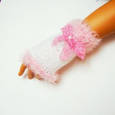 Winter Gloves Pink White Fingerless Knit Half by RoseAndKnit