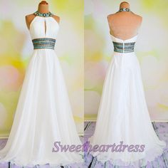 Beaded backless halter white chiffon prom dress, ball gown, long prom dress for teens #coniefox
