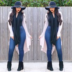 So in love with this outfit from beauttybird Botines Casual, Online Fashion Boutique, Bell Bottom Jeans, Rain Jacket, Windbreaker, Bodysuit, Style Inspiration, Denim, My Style