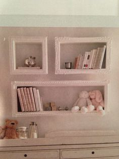 Hobby lobby frames and add ledge to stick out.  What a great idea.  I love it!