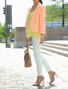 Sherbet colors for summer. And I need nude pumps!