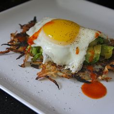 Share Tweet Pin Mail Hash Browns with Fried Egg & Avocado (adapted from Rachael Ray Magazine) Serves 2 1 1/2 baking potatoes, peeled & ...