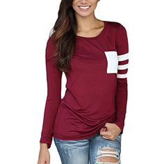4c3075a98 Women Ladies Casual Baseball Long Sleeve T-Shirt Stretch Cotton Tee Tops  (S, Black) at Amazon Women's Clothing store: