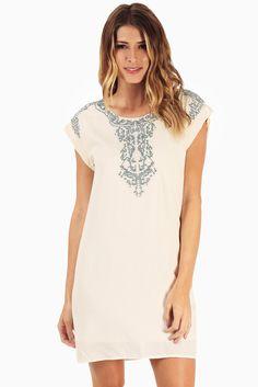 Cream-Sage-Embroidered-Neckline-Dress #fashion #style