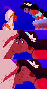 I still believe Jasmine slipped a tongue in this kiss. Look at that crease....mmm-hmm. Lol.