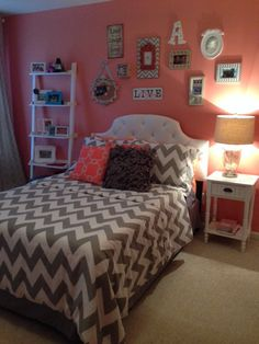 Ashley's coral and grey bedroom.