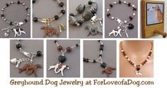Handmade artisan Greyhound dog jewelry at ForLoveofaDog.com