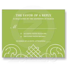 Striking Swirls Wedding RSVP Postcard from Zazzle.com