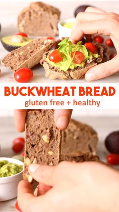 Buckwheat Bread - easy to make gluten free bread as buckwheat despite the name is nothing to do with wheat and is a gluten free seed. Easy and healthy recipe. Made with sprouted buckwheat, chia seeds and almonds. High in plant protein and free of any flour, dairy, grains #bread #glutenfree #healthy #protein #vegan