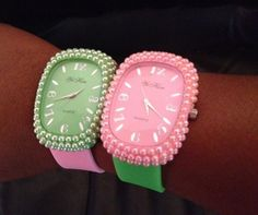 Pink and green pearl-trimmed watches