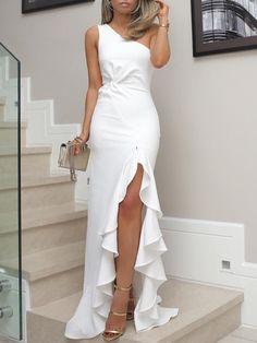 One Shoulder prom dress Twisted Ruffles party dress Slit Hem Dress evening dresses white mermaid prom on Storenvy Evening Dresses, Prom Dresses, Summer Dresses, Formal Dresses, White Long Dresses, Dress Prom, Wedding Dresses, One Shoulder Prom Dress, Dresses Elegant