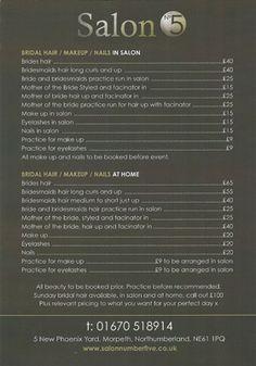 Hairdressing price lists - Ashington, Northumberland - Salon No 5 - Bridal hair