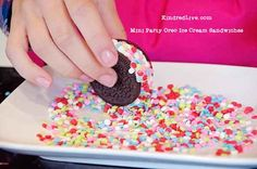 Ice cream Sandwiches made from Oreo cookies..GREAT party idea from KindredLive.com