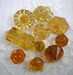 10 Pretty Vintage Amber and Yellow Glass BUTTONS: by Buttongal