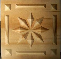 8 Point Star carved wood rosette corner block with border--pine