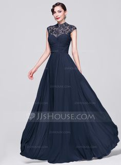 A-Line/Princess High Neck Floor-Length Chiffon Evening Dress With Ruffle Beading Appliques Lace Sequins (017070266)