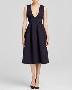 N Nicholas Ponti Deep-V Midi Ball Dress   Bloomingdale's