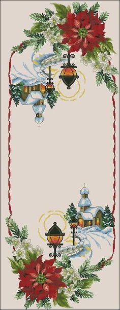 Cross-stitch pattern for Christmas table runner Decorate your Christmas table this magnificent  cross-stitch table runner! Pattern Name: Chrisrmas table