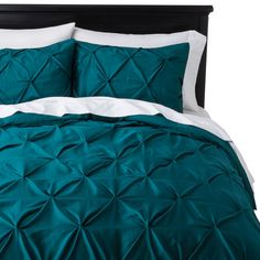 Threshold Pinched Pleat Duvet Cover Set - Threshold Sheets - Ideas of Threshold Sheets - Teal bed set Target. Teal Bedding Sets, Teal Comforter, Comforter Sets, Queen Bedding, King Duvet, White Bedding, Teal Bed Sheets, Teal Bedspread, Target Bedding
