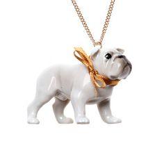 Halskette Porzellan Bulldogge, 21€, jetzt auf Fab.