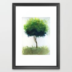 """WATERCOLOR TREE  by Alissa Marie Terracciano  FRAMED ART PRINT / SCOOP BLACK SMALL (15"""" X 21"""")  $38.00  The Scoop frame is made from solid wood with a contemporary, scooped profile measuring 1.06"""" wide x 1.06"""" deep. A gesso coating gives the moulding rich color and a smooth finish. Premium shatterproof acrylic protects the art print, while an acid free dust cover on the back provides a custom finish. Includes wall hanging hardware."""