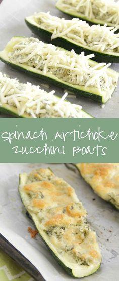 Spinach Artichoke Dip Stuffed Zucchini Boats Cut the recipe in half for the Hot Logic Mini Side Dish Recipes, Low Carb Recipes, Diet Recipes, Vegetarian Recipes, Cooking Recipes, Healthy Recipes, Side Dishes, Cooking Ham, Zucchini Boat Recipes