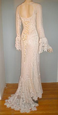 Corset Back Victorian Antique Crochet LACE Wedding Gown Train ooak M. $265.00, via Etsy.