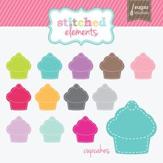 Stitched Cupcakes Digital Clipart  12 Pieces for by sugarstudios, $5.00