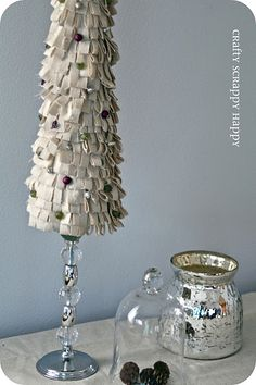 tree made from fabric strips and a styrofoam cone