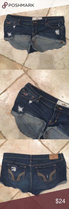 Denim booty shorts - barely worn Denim Hollister short shorts. Great condition. Hollister Shorts Jean Shorts