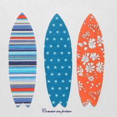 Appliqués thermocollants mes 3 planches de surf orange et bleu